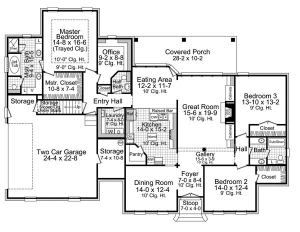 1st Level Floorplan image of Featured House Plan: BHG - 7643