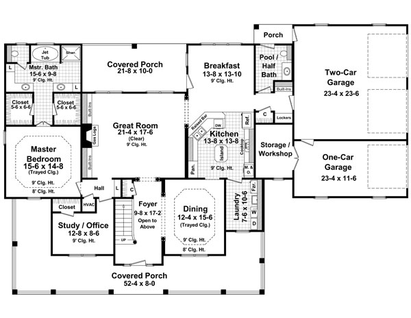 1st Level Floorplan image of Featured House Plan: BHG - 7777