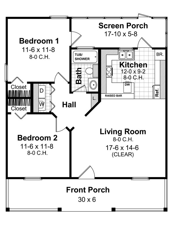 1st Level Floorplan image of Featured House Plan: BHG - 6407