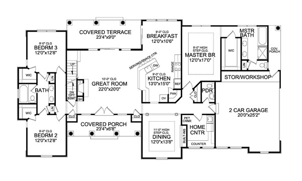 First Floor Plan image of Featured House Plan: BHG - 4443