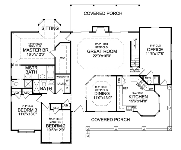 First Floor Plan image of Featured House Plan: BHG - 5115