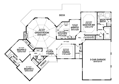 First Floor Plan image of Featured House Plan: BHG - 5241