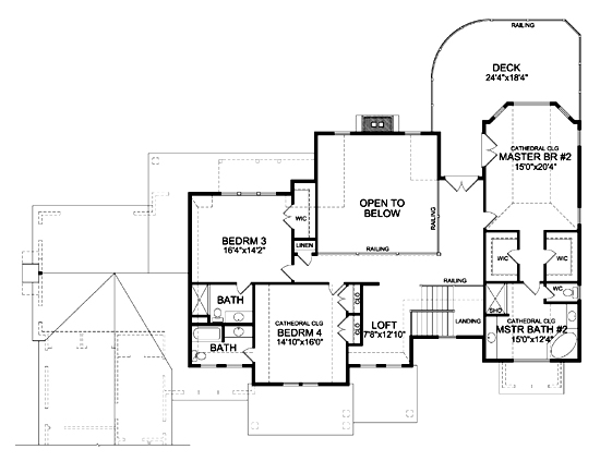 Second Floor Plan image of Featured House Plan: BHG - 5569
