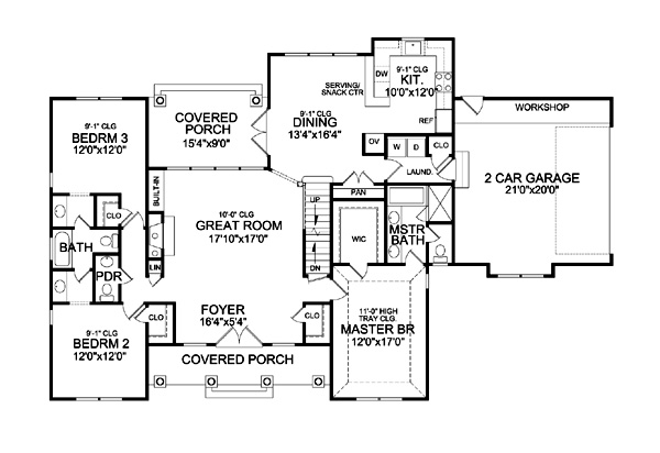 First Floor Plan image of Featured House Plan: BHG - 9233