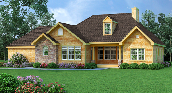 Rear Rendering image of Featured House Plan: BHG - 9233