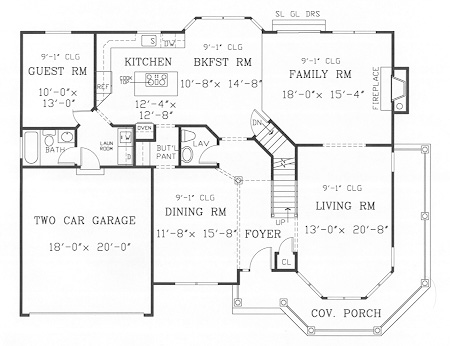 First Floor Plan image of Featured House Plan: BHG - 3826