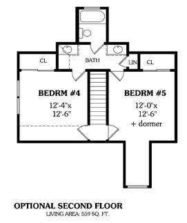 Second Floor Plan image of Featured House Plan: BHG - 5607