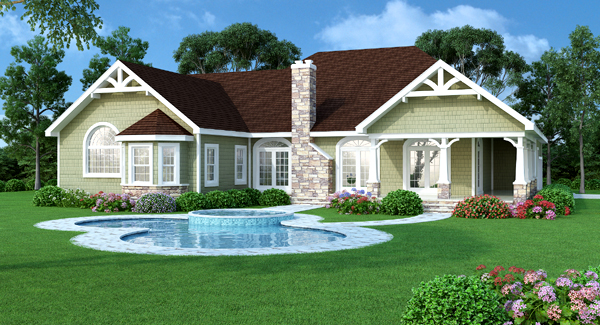 Rear Rendering image of Featured House Plan: BHG - 4937