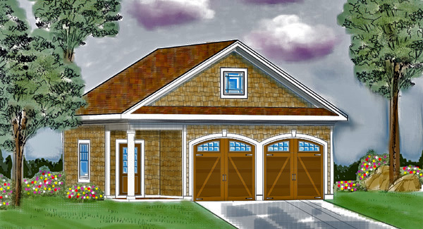 Front: Included Detached Garage image of Featured House Plan: BHG - 5115