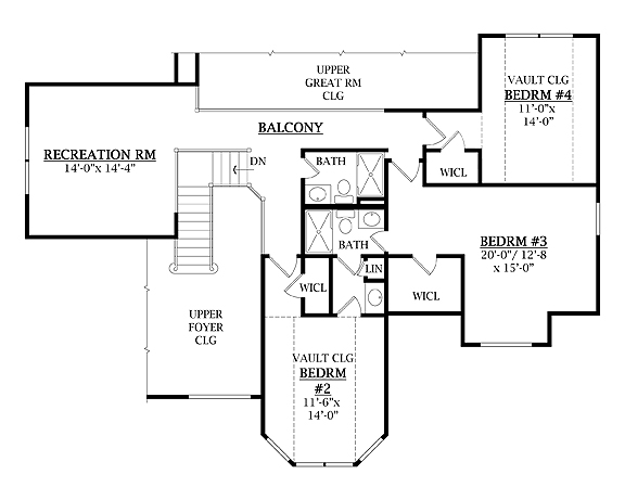 Second Floor Plan image of Featured House Plan: BHG - 7905