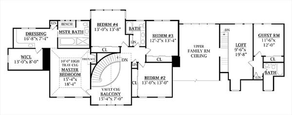 Second Floor Plan image of Featured House Plan: BHG - 7906