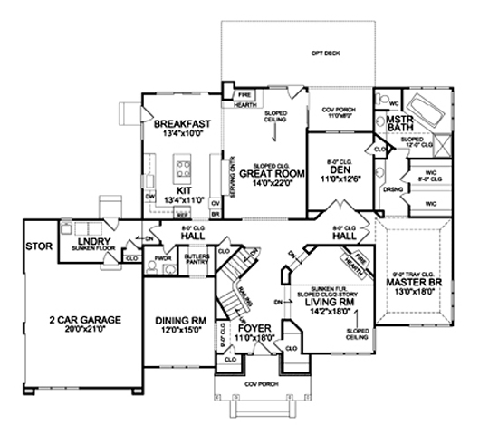 First Floor Plan image of Featured House Plan: BHG - 5214