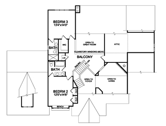 Second Floor Plan image of Featured House Plan: BHG - 5214