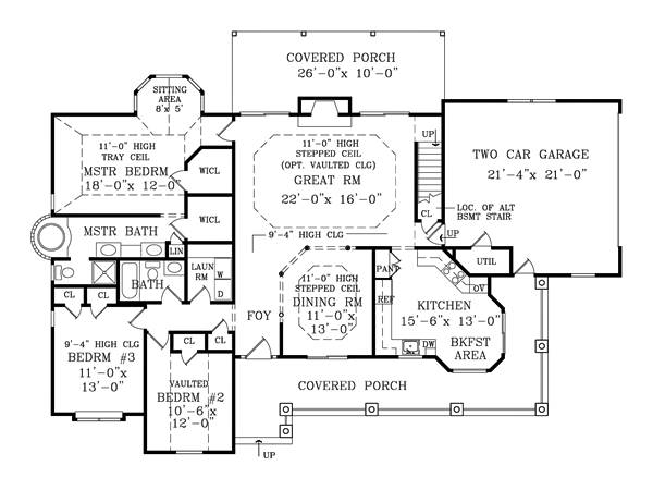 First Floor Plan image of Featured House Plan: BHG - 1875