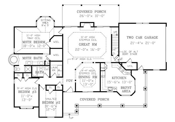 First Floor Plan image of Featured House Plan: BHG - 2800