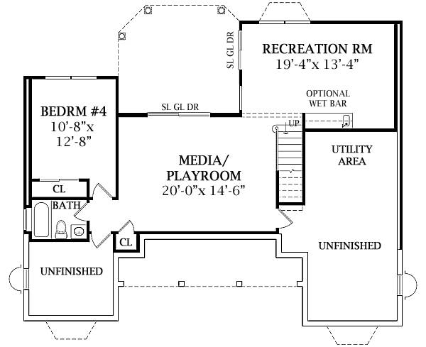 Optional Walk-out Basement Plan image of Featured House Plan: BHG - 4676