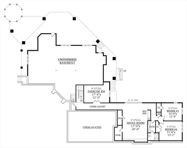 Basement Floor Plan image of Featured House Plan: BHG - 6940
