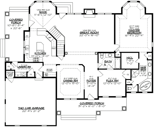 First Floor Plan image of Featured House Plan: BHG - 3122