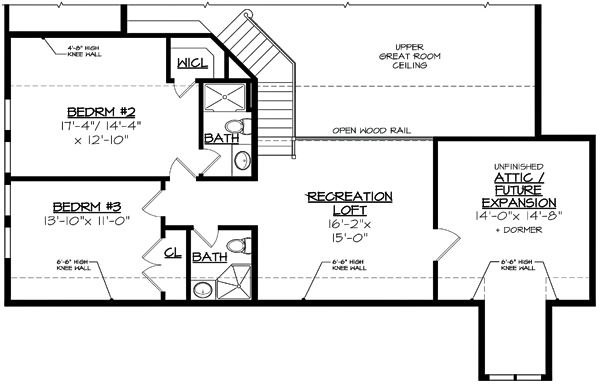 Second Floor Plan image of Featured House Plan: BHG - 3122