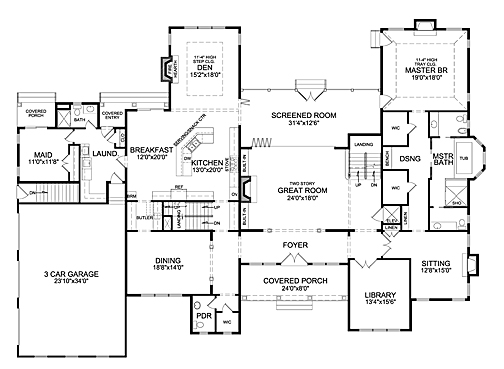 First Floor Plan image of Featured House Plan: BHG - 7023