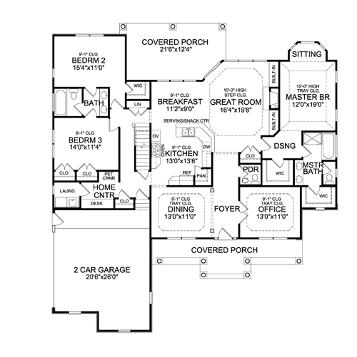 First Floor Plan image of Featured House Plan: BHG - 4422