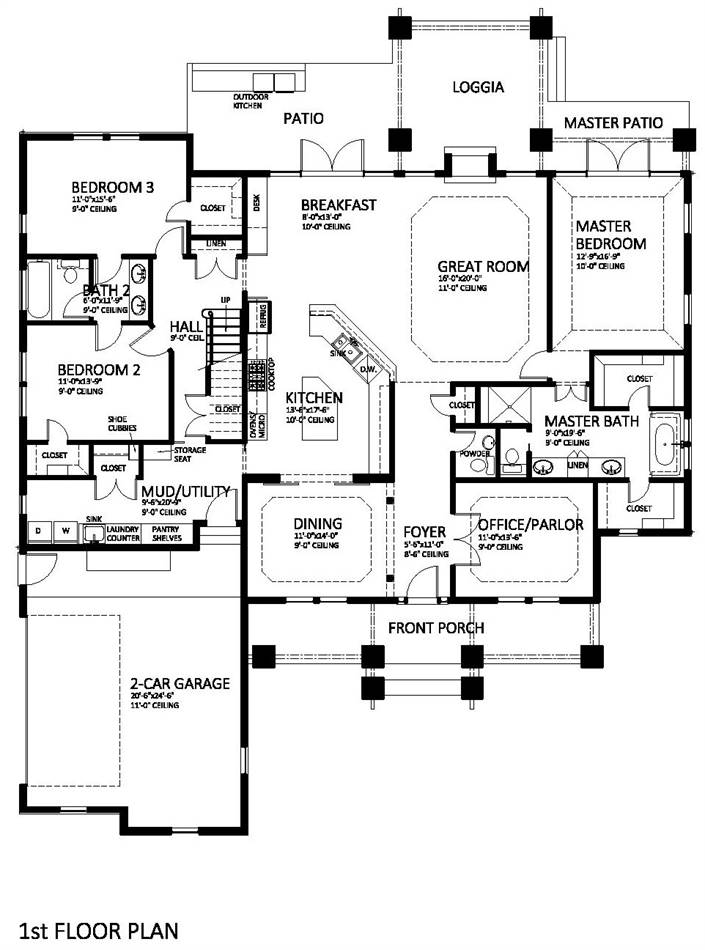 First Floor Plan image of Featured House Plan: BHG - 9898