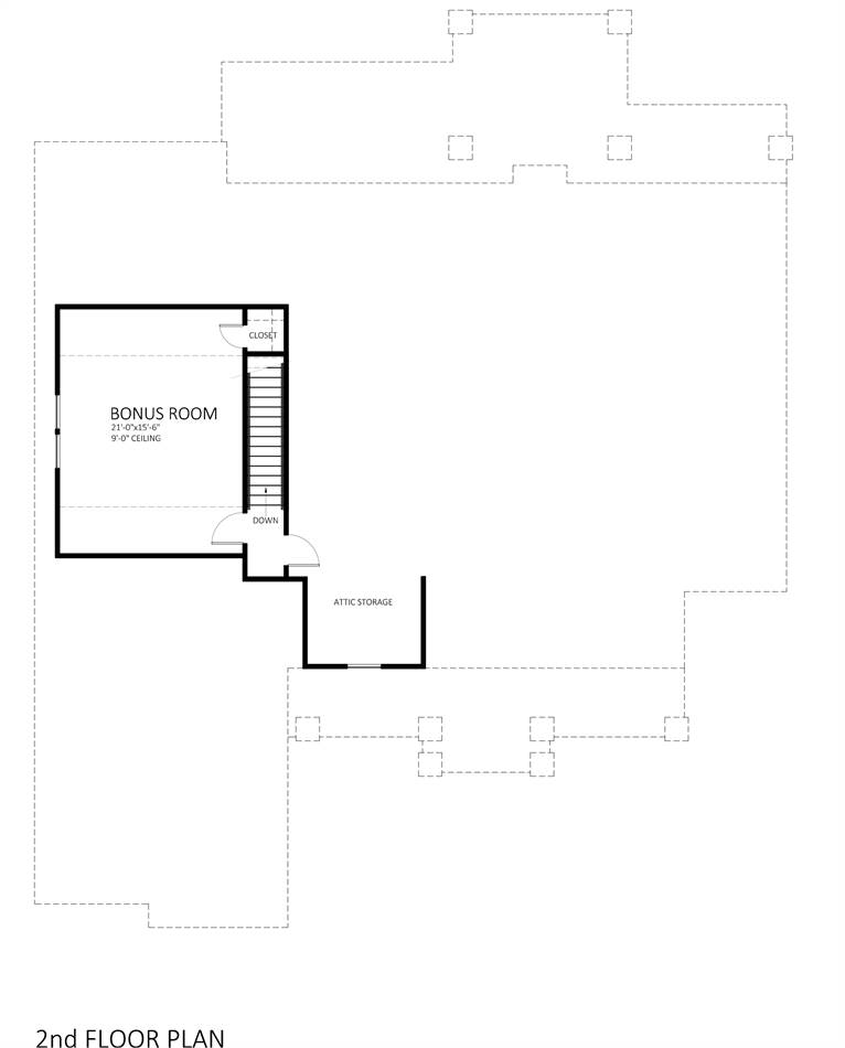 Second Floor Plan image of Featured House Plan: BHG - 9898