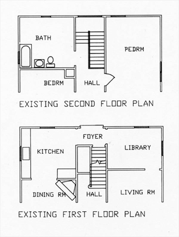 1st & 2nd Existing Floor Plans image of Featured House Plan: BHG - 6236