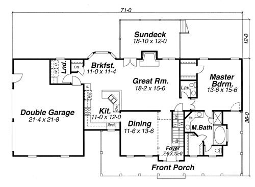 First Floor image of Featured House Plan: BHG - 8254