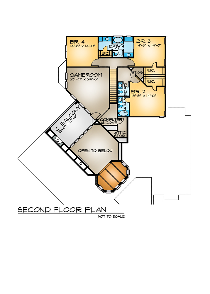 Second Floor Plan image of Featured House Plan: BHG - 4262