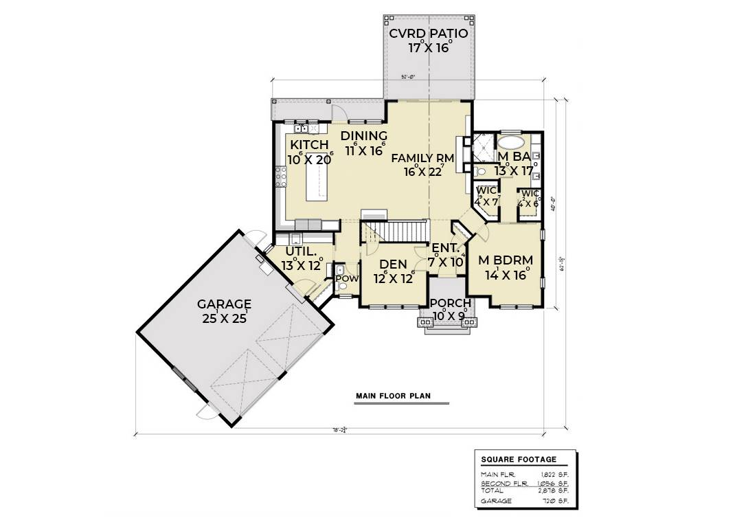 1st Floor Plan image of Featured House Plan: BHG - 6846