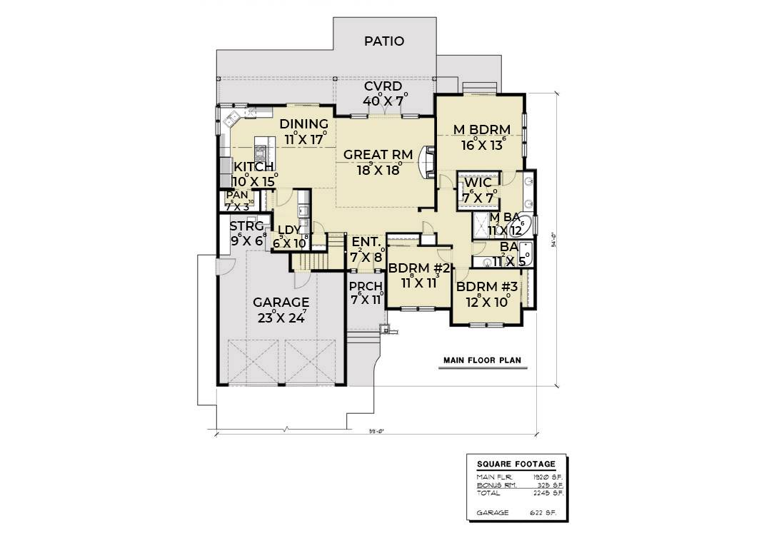 1st Floor Plan image of Featured House Plan: BHG - 7108