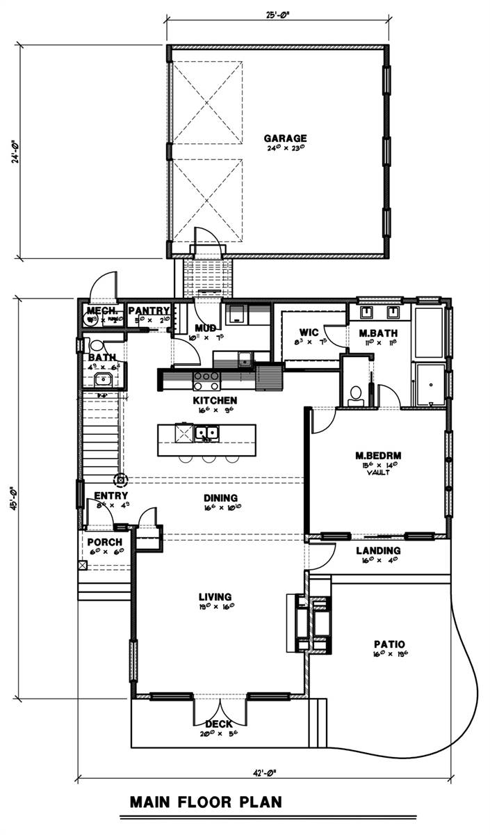 1st Floor Plan image of Featured House Plan: BHG - 7249