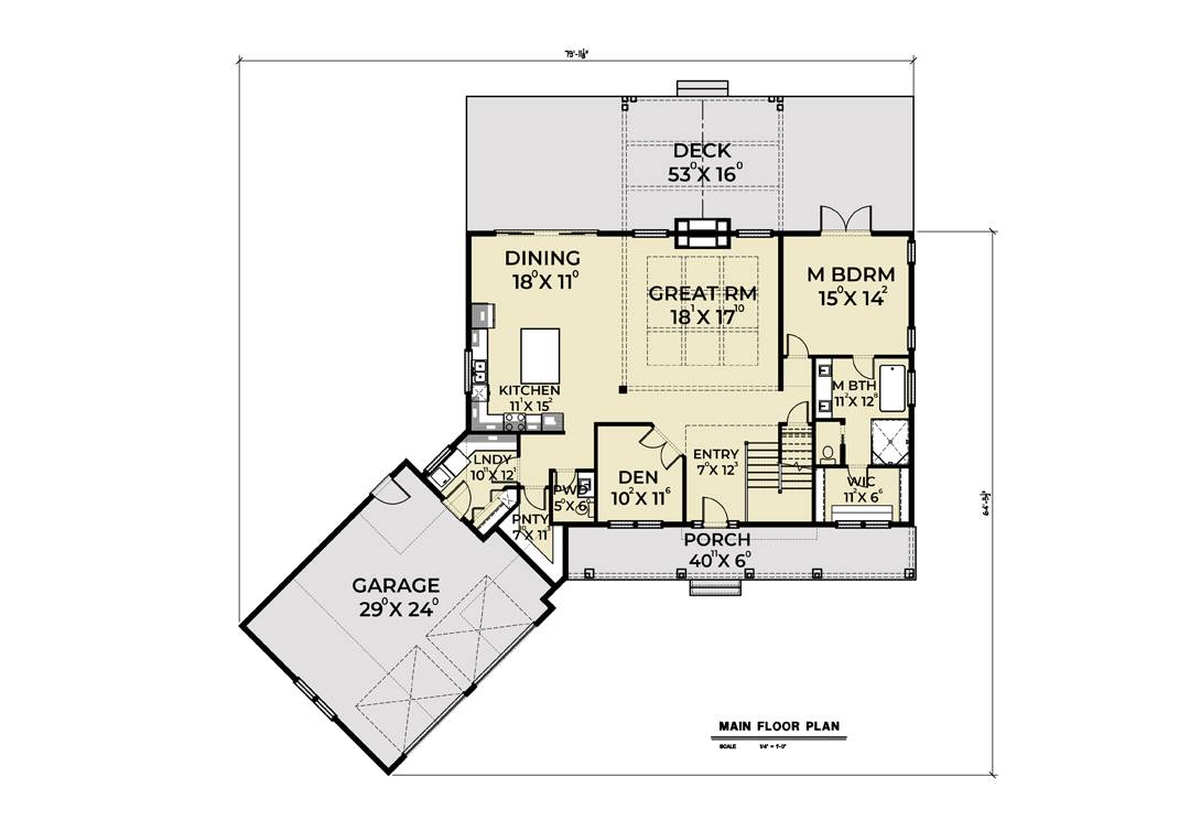 1st Floor Plan image of Featured House Plan: BHG - 7444
