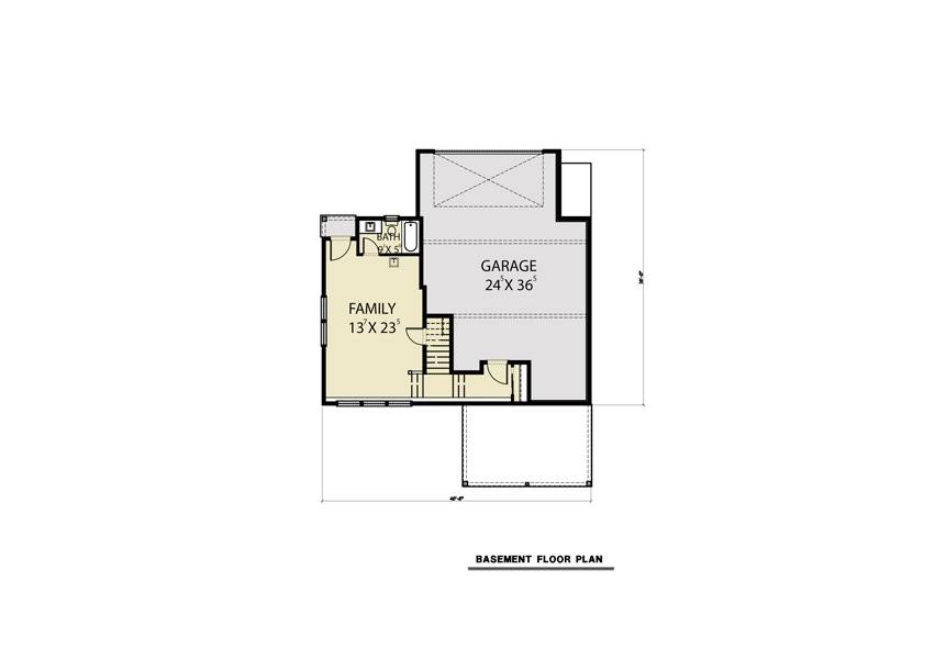 Basement Plan image of Sloping Lot Contemporary Style House Plan 8857