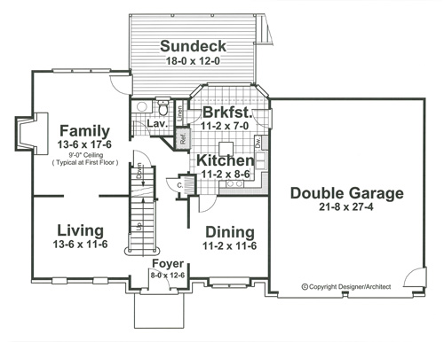 First Floor image of Featured House Plan: BHG - 1616
