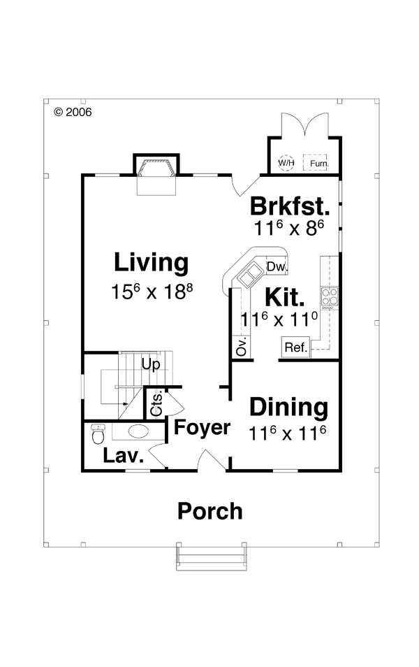 First Floor image of Featured House Plan: BHG - 7014