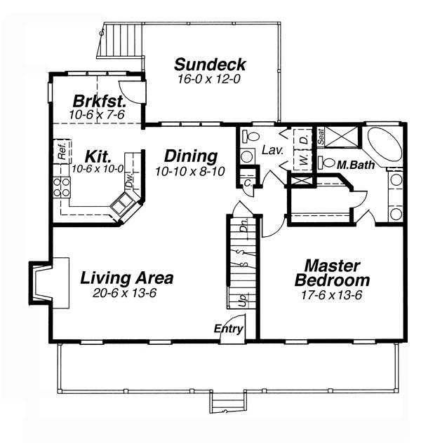 First Floor image of Featured House Plan: BHG - 5734