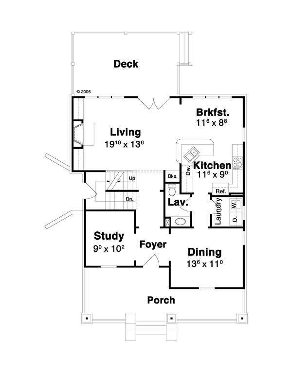 First Floor image of Featured House Plan: BHG - 7122