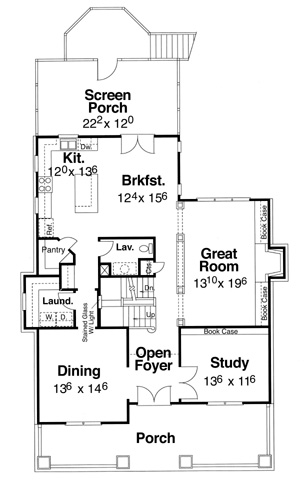 First Floor image of Featured House Plan: BHG - 5822