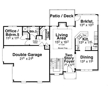 First Floor image of Featured House Plan: BHG - 5832