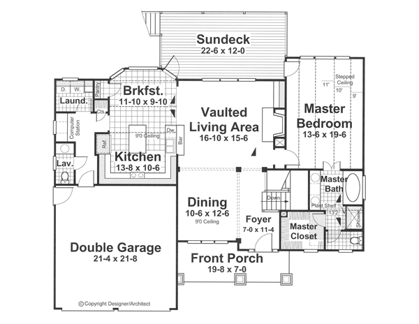 Main Level image of Featured House Plan: BHG - 1204