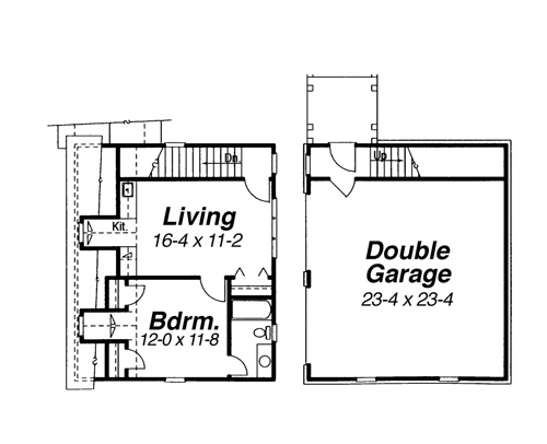 Garage w/ Apt. Above image of Featured House Plan: BHG - 7661
