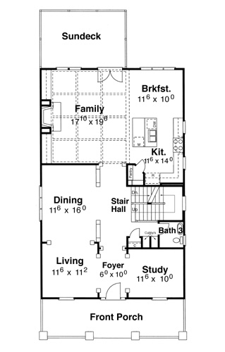 First Floor image of Featured House Plan: BHG - 5826