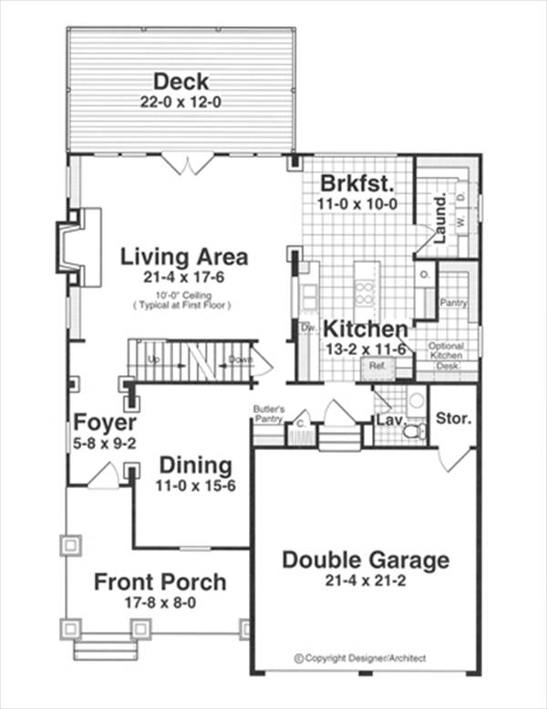 First Floor image of Featured House Plan: BHG - 1187
