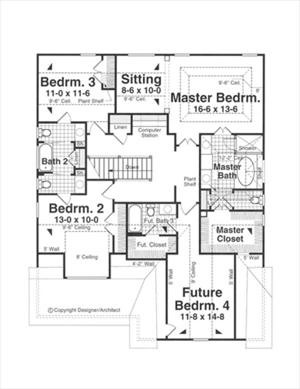 Second Floor image of Featured House Plan: BHG - 1187