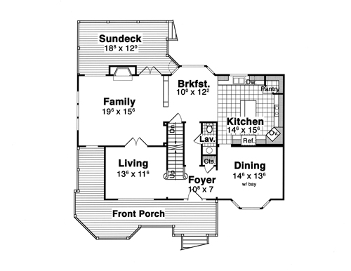 First Floor image of Featured House Plan: BHG - 1212