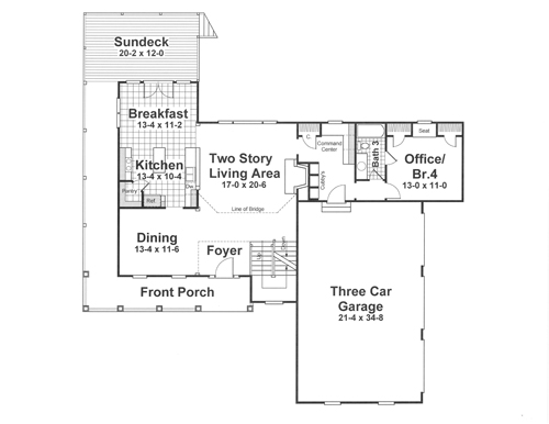 First Floor image of Featured House Plan: BHG - 1182