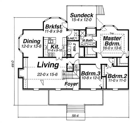 First Floor image of Featured House Plan: BHG - 8352
