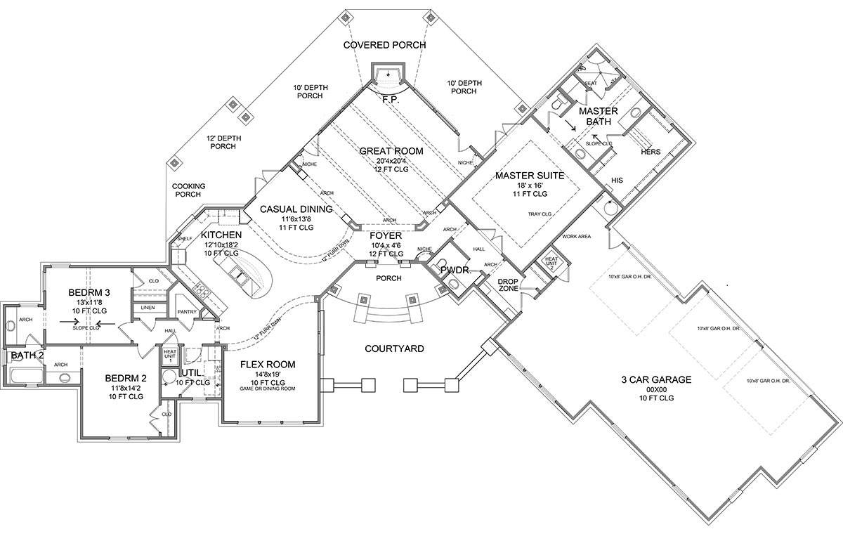 First Floor Plan image of Featured House Plan: BHG - 1946